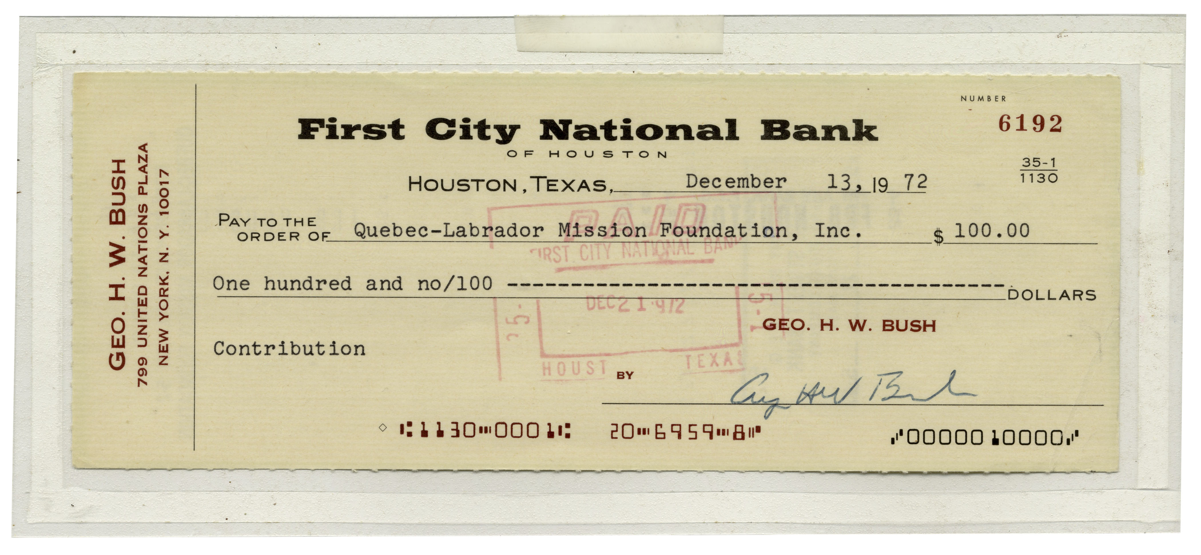 George Bush Autograph George H.W. Bush Signed Check -- Bush Donates to a Charitable Mission Foundation
