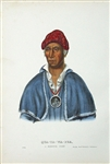 1872 McKenney & Hall Color Print -- Shawnoe Indian Chief Quatawapea