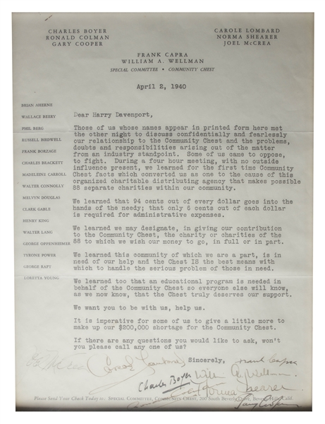 1940 Letter Signed by Carole Lombard, Gary Cooper, Joel McCrea, Norma Shearer, Frank Capra, Ronald Colman, Charles Boyer & William Wellman -- ''...to discuss confidentially and fearlessly...''
