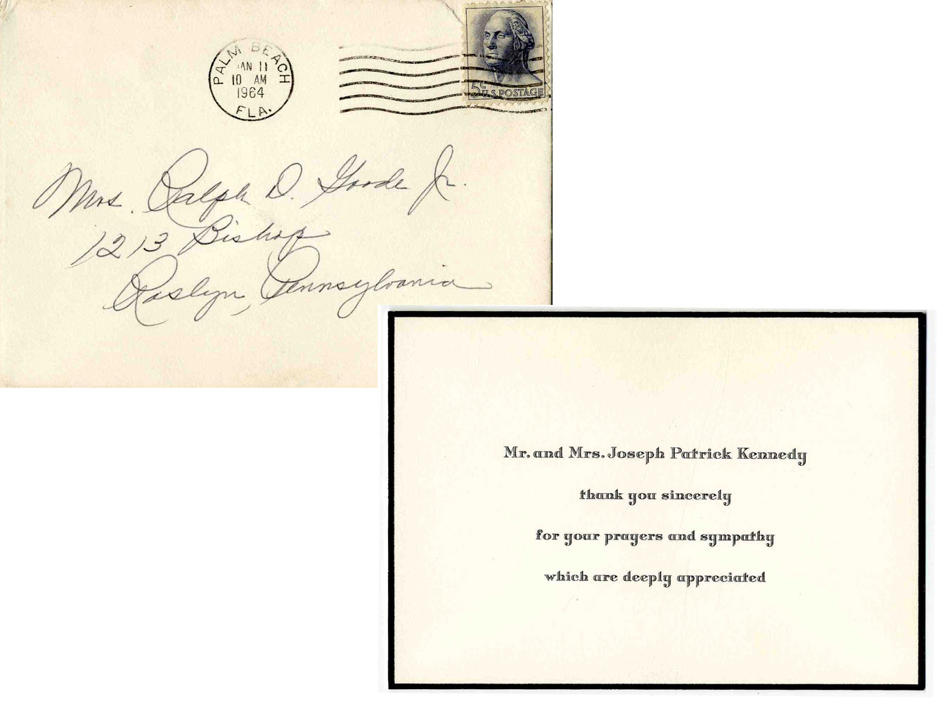 Lot Detail Joseph Rose Kennedy Thank You Card Expressing