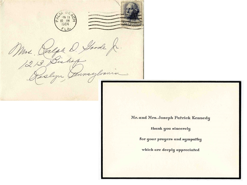 Joseph & Rose Kennedy Thank You Card -- Expressing Thanks for Prayers & Sympathies After the Tragic Death of JFK