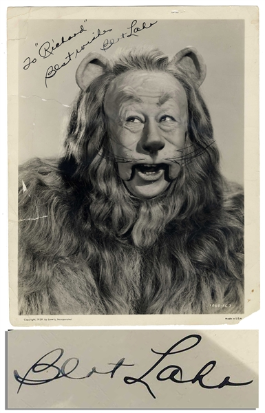 Scarce Bert Lahr Signed Photo as ''Cowardly Lion'' in 1939 ''The Wizard of Oz'' -- With PSA/DNA COA