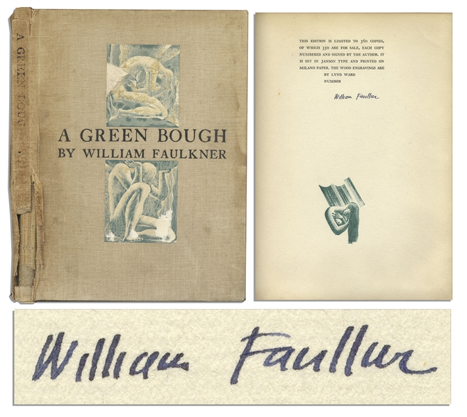 William Faulkner Signed ''A Green Bough'' -- Rare Limited Edition of Faulkner's Poetry