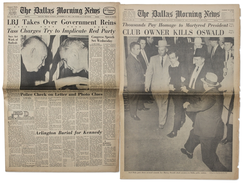 ''The Dallas Morning News'' Announces ''CLUB OWNER KILLS OSWALD'' & Second Paper ''LBJ Takes Over Government Reins''