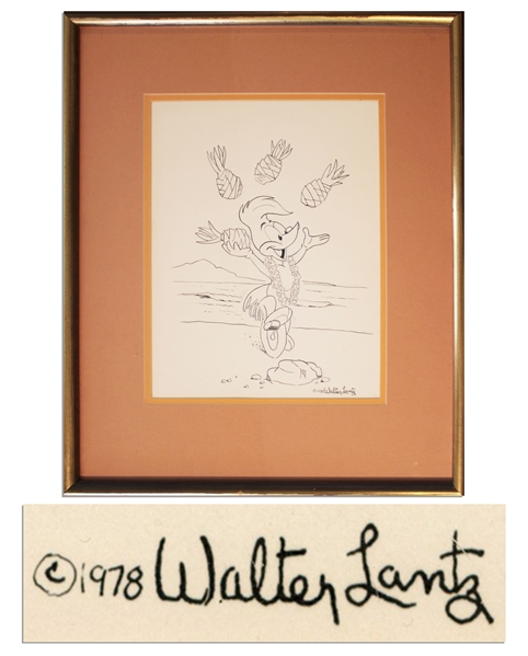 Walter Lantz Signed Sketch of Woody Woodpecker Juggling Pineapples