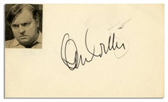 Orson Welles Signature on a 5 x 3 Card With Welles Photo Affixed -- Pencil Scratch, Else Near Fine