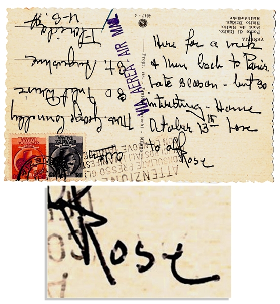 Rose Kennedy Autograph Postcard Signed from Venice -- ''Here for a week and then back to Paris...''