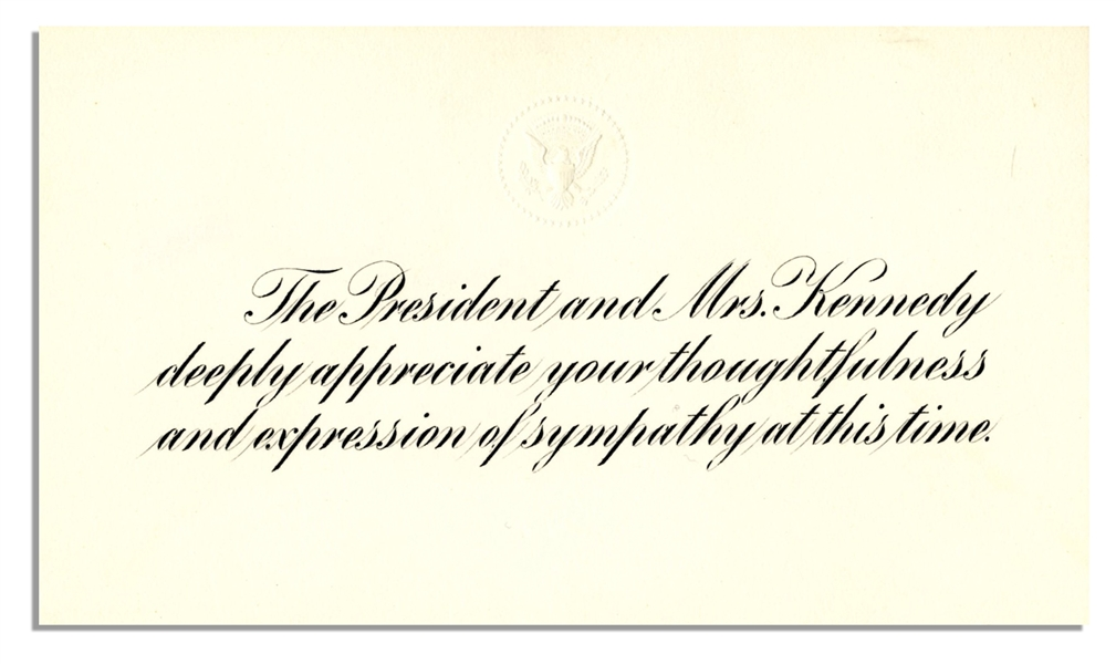 John & Jackie Kennedy White House Card on the Death of Their Child