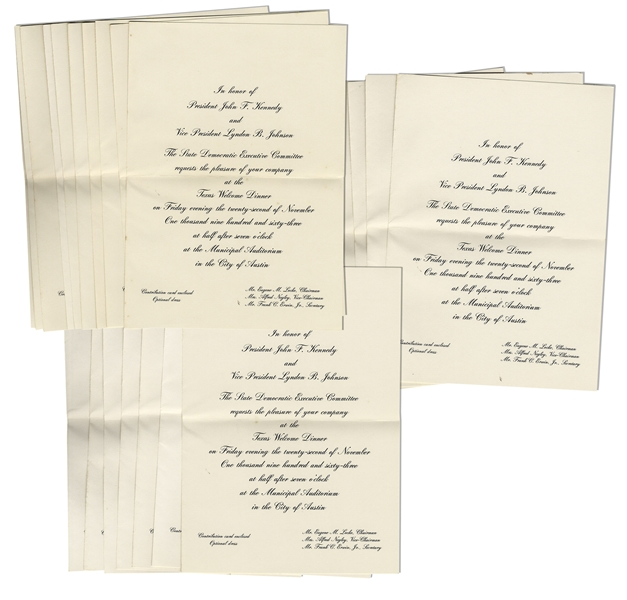 Lot of 25 Invitations to the Dinner Welcoming President Kennedy to Texas the Night of His Assassination