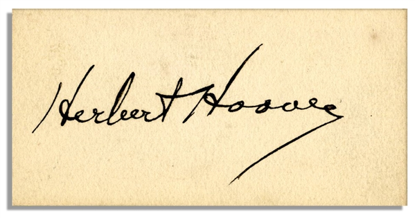 ''Herbert Hoover'' Signed 3'' x 1.5'' Card -- Very Good With Bold Signature