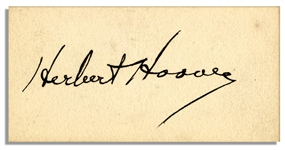 Herbert Hoover Signed 3 x 1.5 Card -- Very Good With Bold Signature