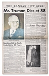 Harry Trumans Death Announced in The Kansas City Star Newspaper