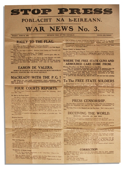 Irish Civil War Broadside Issued by the IRA -- Eamon de Valera Tells the Irish to ''Rally to the Flag'' and ''It is War''