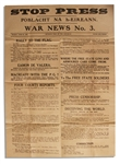 Irish Civil War Broadside Issued by the IRA -- Eamon de Valera Tells the Irish to Rally to the Flag and It is War