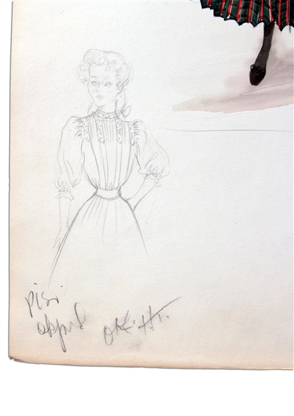 Edith Head Costume Sketch -- Head Draws Mona Freeman for the 1951 Film ''Darling How Could You!''