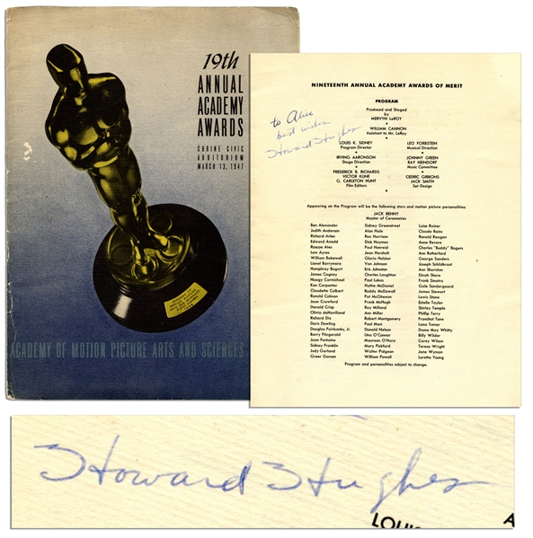 Howard Hughes Signed Program From the 19th Academy Awards Honoring the Best in Film of 1946 -- With PSA/DNA COA