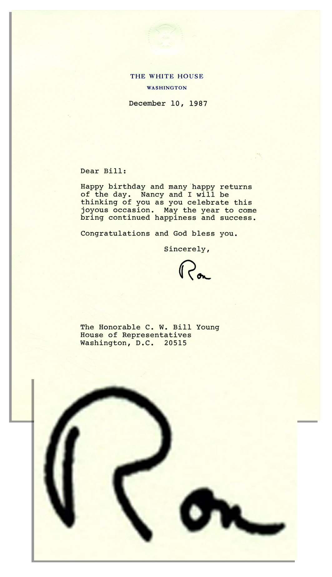 ronald reagan typed letter signed as president sending birthday wishes