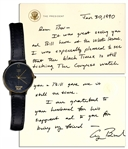 George H.W. Bush Custom-Made Watch With a Handwritten Letter by Bush Attesting to its Authenticity -- Watch Has Gold George Bush Lettering