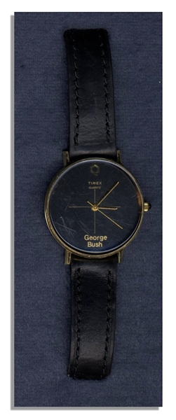George H.W. Bush Custom-Made Watch With a Handwritten Letter by Bush Attesting to its Authenticity -- Watch Has Gold ''George Bush'' Lettering