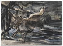 Rare 1940s Lassie Storyboard -- Painting Depicts the Most Famous Dog in Hollywood Running Through a Wintry Setting