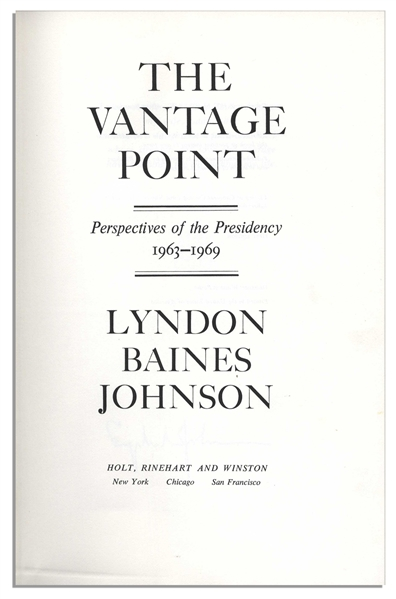 Lyndon B. Johnson Signed ''The Vantage Point'' First Edition