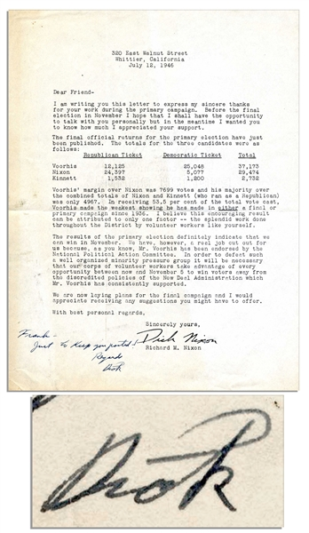 1946 Richard Nixon Campaign Letter With Autograph Note Signed -- ''...take...every opportunity...to win voters away from the discredited policies of the New Deal Administration...''