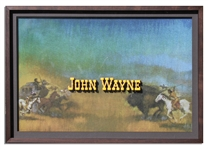 Large, Original Hand-Painted 33 x 23 Glass Movie Title Art Crediting John Wayne for How the West Was Won -- The Only John Wayne Glass Title Art Available