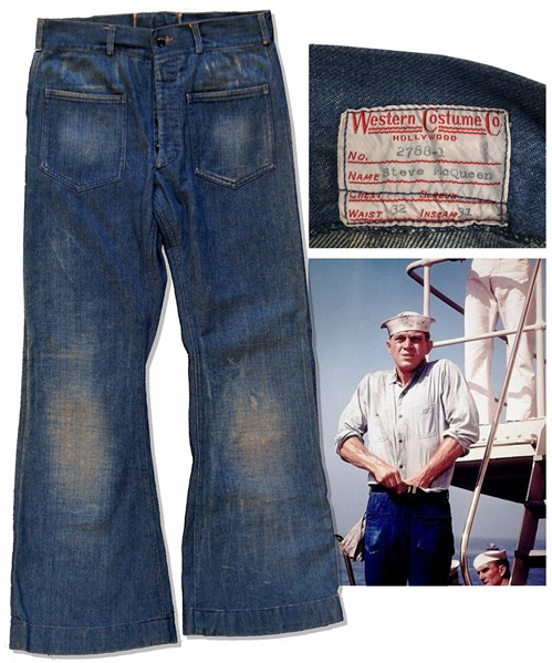 Steve McQueen Screen-Worn Blue Jeans From ''The Sand Pebbles'', The Film That Garnered Him a Best Actor Oscar Nomination