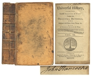 Extremely Rare John Hancock Signed Book, From His Library -- One of Only a Handful of Signed Books From Hancocks Library Sold at Auction
