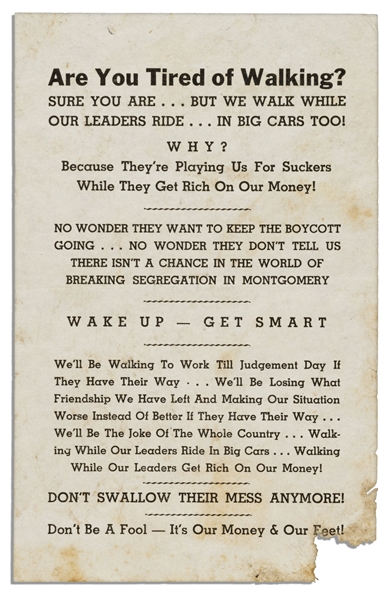 Scarce Flyer Issued by the Black Opposition to the Montgomery Bus Boycott -- ''...There isn't a chance in the world of breaking segregation in Montgomery...''