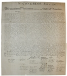 1843 Force Declaration of Independence From Original Copper Plate
