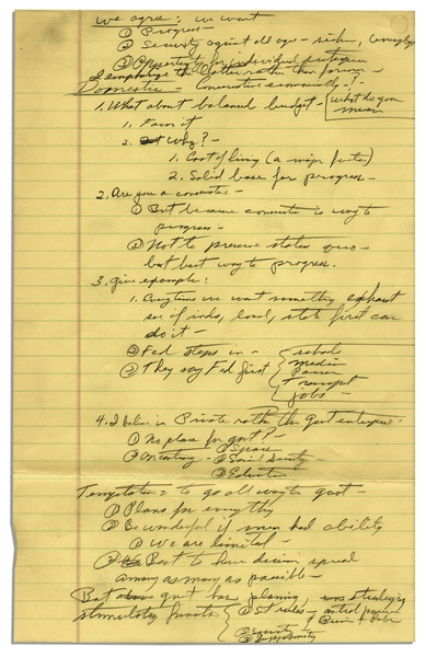 Richard Nixon Handwritten Notes From 1958 -- Likely Notes From a Speech, With Arguments on Conservatism -- ''...I believe in Private rather than govt enterprise...Are you a Conservative...''
