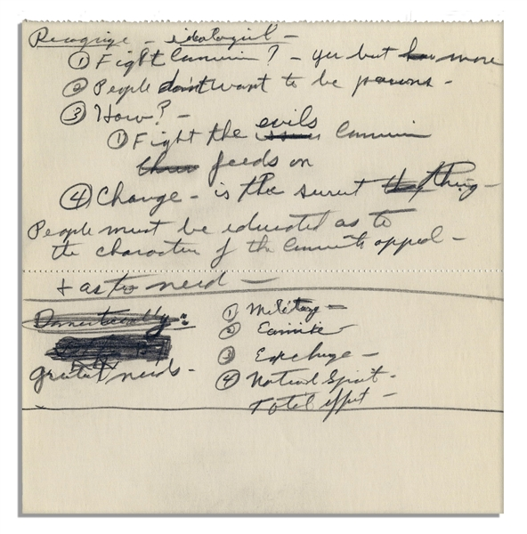 Richard Nixon Handwritten Notes on Communism -- ''...People don't want to be pawns...Change - is the surest thing - People must be educated as to the character of the Communist appeal...''