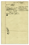 Richard Nixon Handwritten Notes on Economics -- ...Government is Inefficient / Stultifying... -- Plus Note to Himself: clear up - where you stand