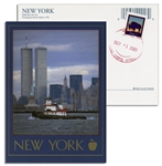 World Trade Center, New York City Full Color Postcard -- Postmarked 9/11/01
