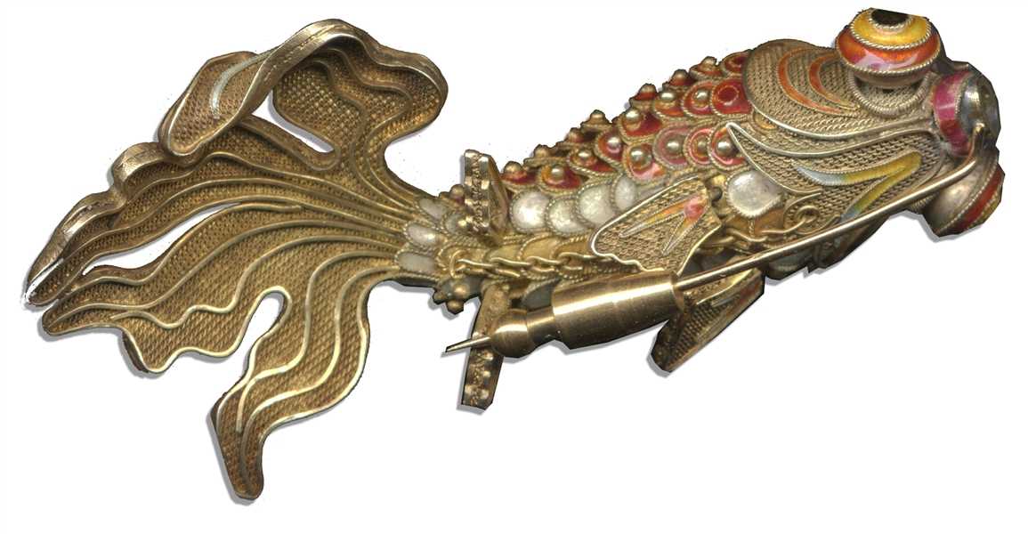 Wallis Simpson's Personally Owned Qing Dynasty Goldfish Jewelry -- Ornate Articulated Brooch Made of Filigree & Enamel