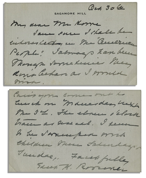 First Lady Edith Roosevelt Autograph Letter Signed