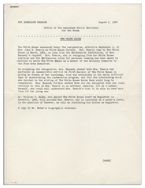 Jackie Kennedy White House Press Release -- Announcing the Resignation of the Artistic Curator During the Famous Renovation of the White House