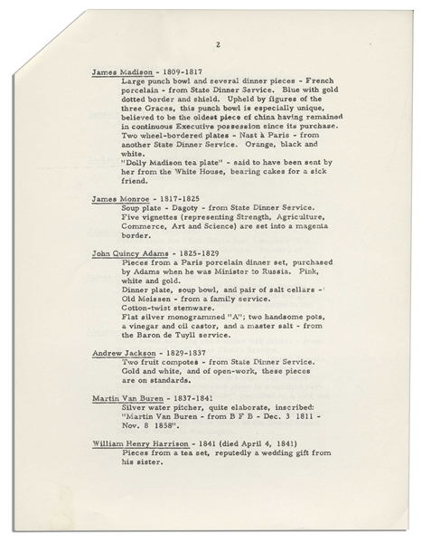 President John F. Kennedy Fact Sheet on the White House China Room -- With Interesting Content Detailing Each President's Addition to the China Collection