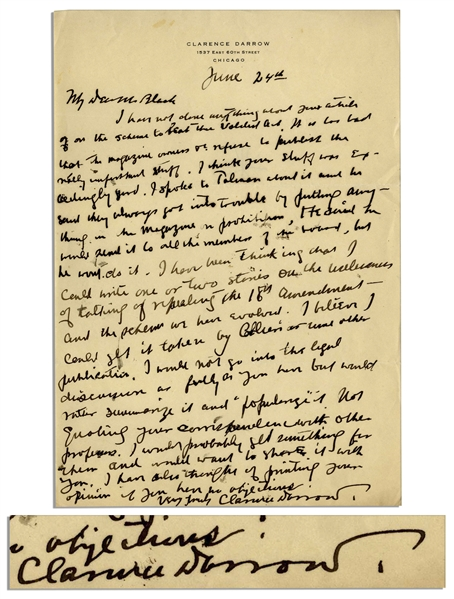 Clarence Darrow Autograph Letter Signed -- Regarding His Disdain for Prohibition -- ''...I could write one or two stories on the values...of repealing the 18th Amendment...''