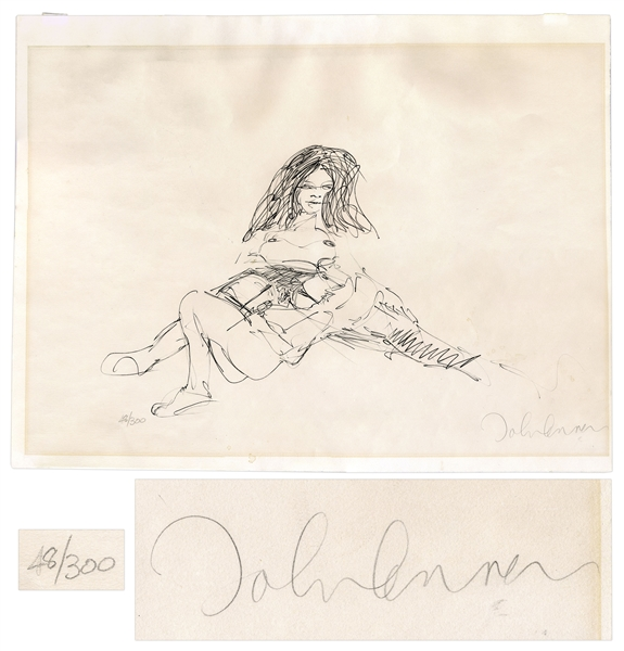 John Lennon Signed ''Bag One'' Print Depicting Lennon & Yoko Ono -- Limited Edition #48 of 300 -- With COA From Roger Epperson