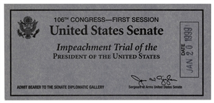 President Bill Clinton Senate Impeachment Trial Ticket -- Admits Bearer to the Senate Diplomatic Gallery