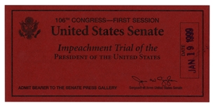 President Bill Clinton Senate Impeachment Trial Ticket -- Admits Bearer to the Senate Press Gallery