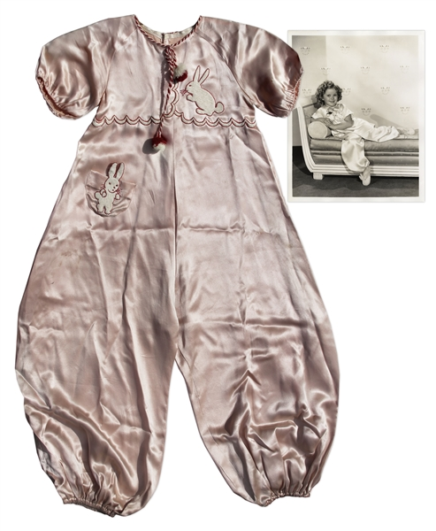Shirley Temple Screen-Worn Pink Satin Bunny Pajamas From 1935 Film ''Curly Top''