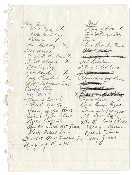 Johnny Cash Handwritten Set List from Mid 1990s -- Includes ''Ring of Fire'', ''I Walk the Line'', ''Hey Porter'' and ''Casey Jones'' -- With Sotheby's Provenance