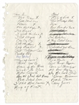 Johnny Cash Handwritten Set List from Mid 1990s -- Includes Ring of Fire, I Walk the Line, Hey Porter and Casey Jones -- With Sothebys Provenance