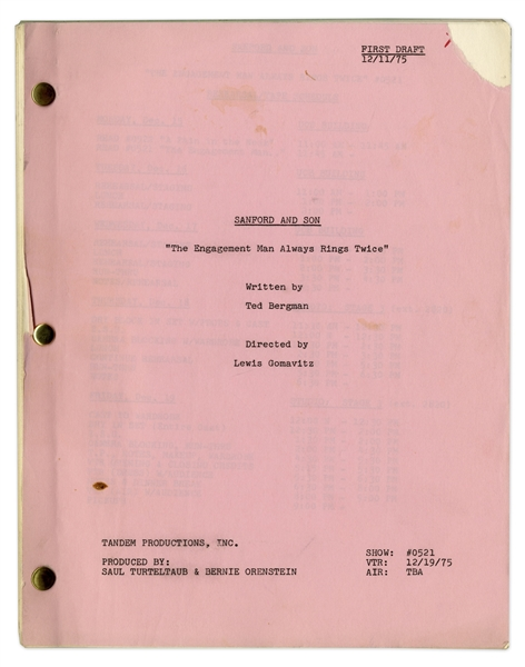 Redd Foxx's ''Sanford & Son'' Hand-Annotated Script -- 1st Draft of ''The Engagement Man Always Rings Twice'' Dated 11 December 1975 -- Very Good Condition -- From the Redd Foxx Estate