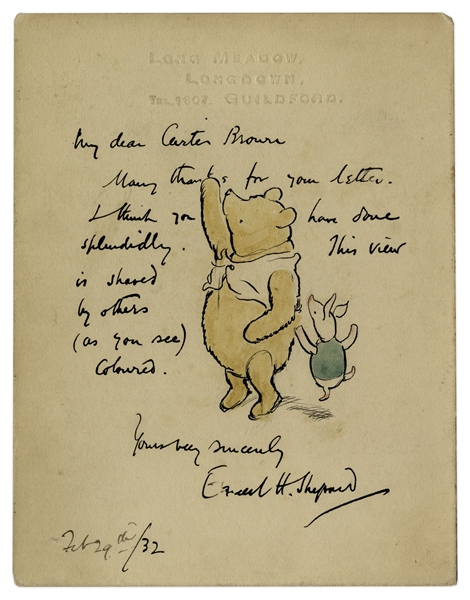 Ink and Watercolor Drawing by E.H. Shepard of Winnie-the-Pooh & Piglet -- Extraordinarily Scarce Drawing by Shepard of the Most Famous Children's Character -- With Provenance From Sotheby's