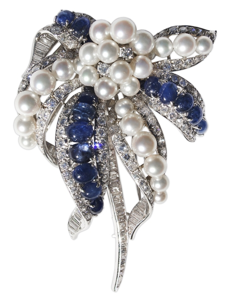 Estee Lauder Owned Platinum Brooch With Diamonds, Pearls and Sapphires -- Designed by David Webb & With Provenance From Sotheby's