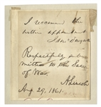 Abraham Lincoln Autograph Endorsement Signed as President in August 1861